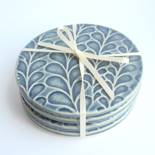Set of 4 blue ceramic textured coasters - Folksy