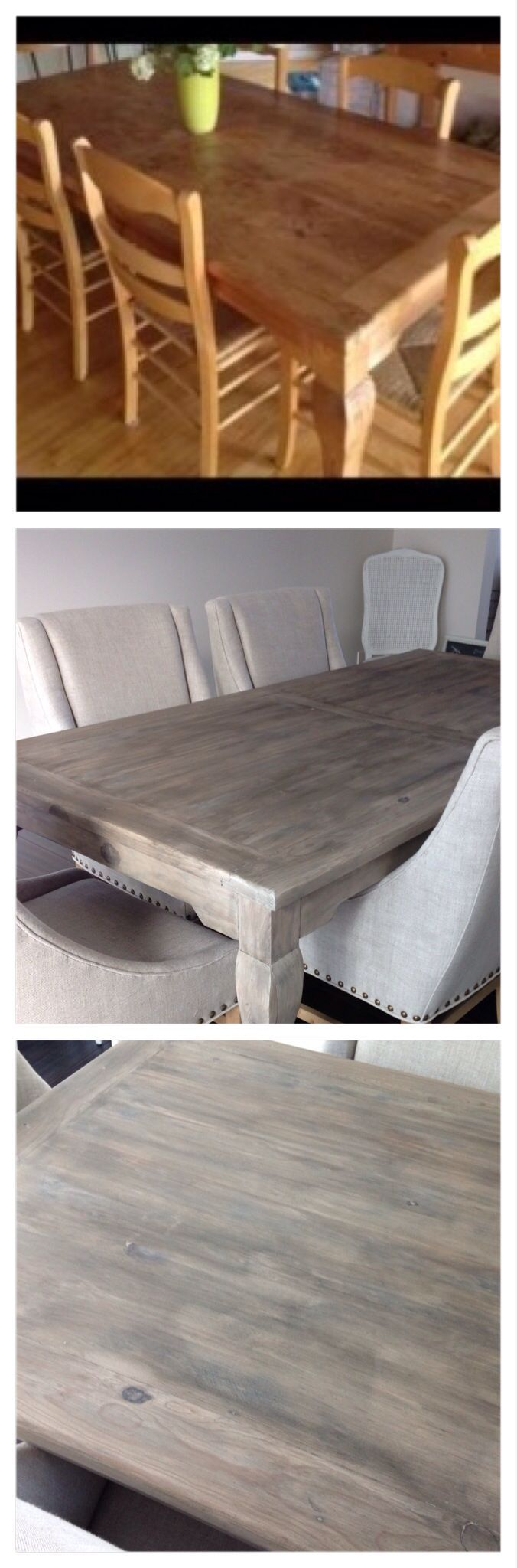DIY Restoration Hardware finish. Craigslist table: stripped, sanded, bleached (I used a deck bleach), liming wax, glaze (two coats), clear wax. Lots of work, but I'm loving the weathered gray finish! However, I did break down --- the chairs are from RH ;)