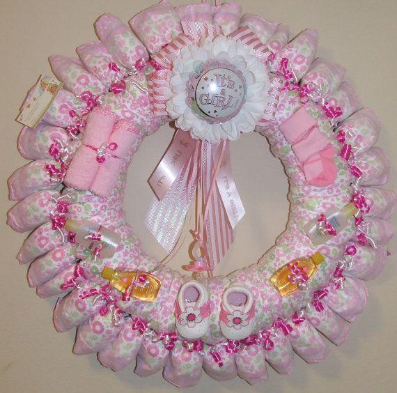 It's a girl diaper wreath