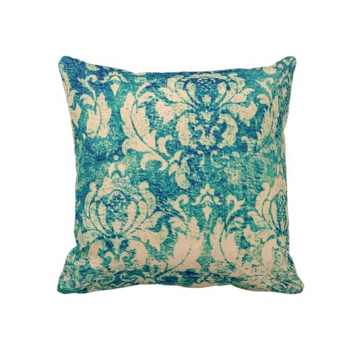 Decorative Pillows Blue Green : Blue And Green Damask Throw Pillow Linens and fabric items Pinter?