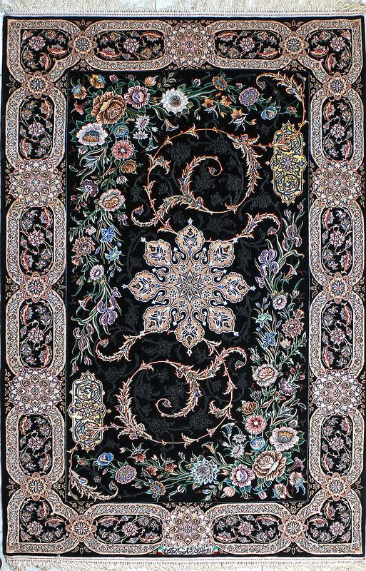 Isfahan Black Persian Silk Rug 5x8 6x8