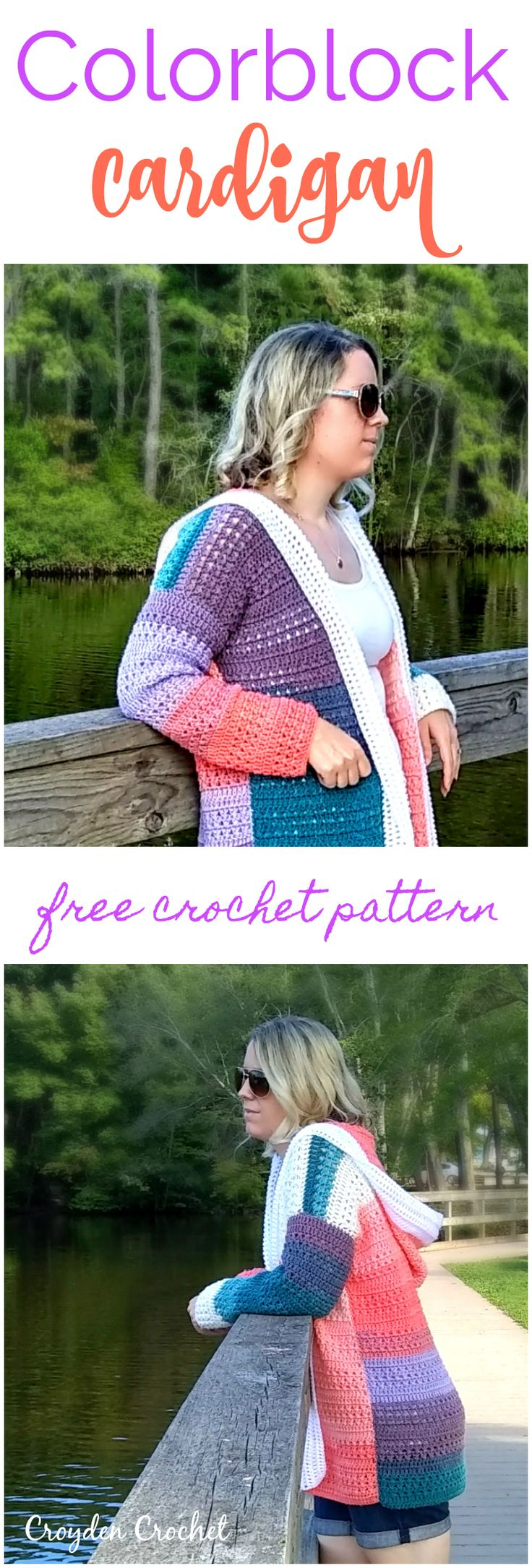 Crochet this free colorblock cardigan pattern using Lion Brand Mandala Yarn!