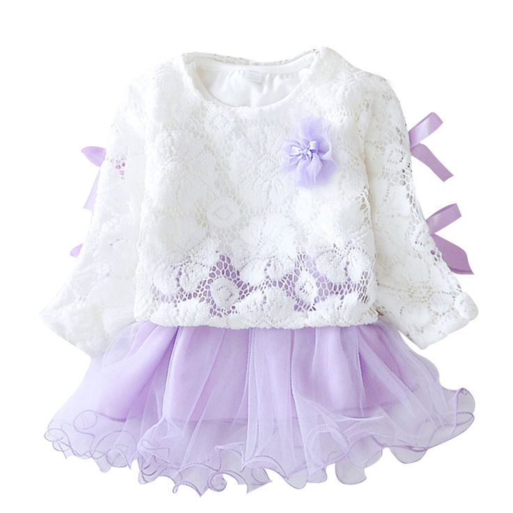 2017 New Baby Girls Dress Long Sleeve One Piece Flower Cotton Princess Tutu Dresses Toddler Kids Clothes Free Shipping YY0725
