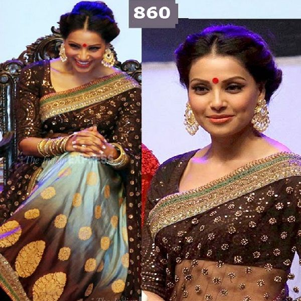 #Bollywood queen Bipasa Designer #Saree Net #saree With Dhupian Blouse Shop now ☛  http://www.fashion4style.com/woman/clothing/bollywood-replica-saree/bollywood-queen-bipasa-designer-saree/pid=MTYy