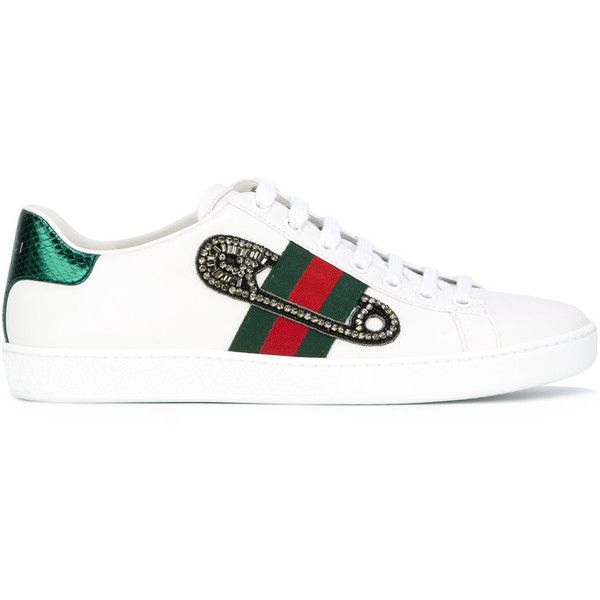 Gucci GG Vintage Web safety pin sneakers (900 AUD) ❤ liked on Polyvore featuring shoes, sneakers, white, vintage white shoes, white trainers, python sneakers, gucci shoes and gucci