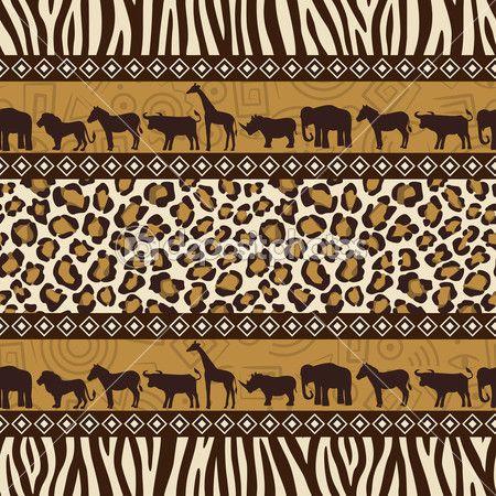 Африканский стиль бесшовный паттерн с дикими животными — Векторная картинка #5263790