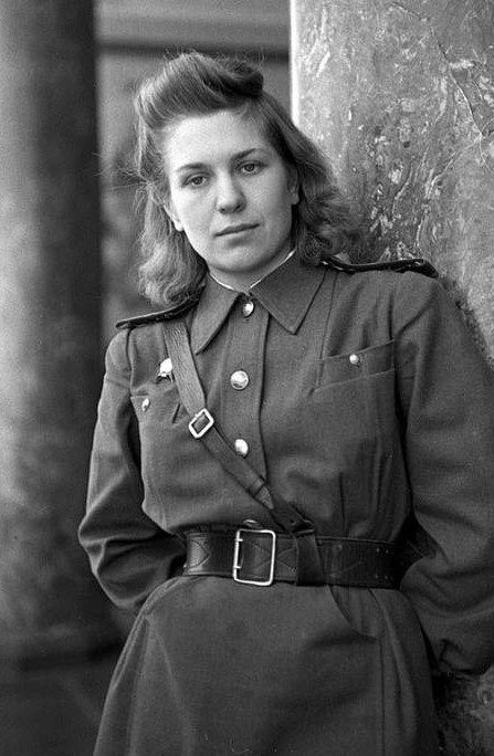 World War II, the Great Patriotic War. Valeria Borts (1927 – 1996), a Russian military interpreter and translator, Berlin, Germany, 1945. Photograph by Anatoly Arkhipov.