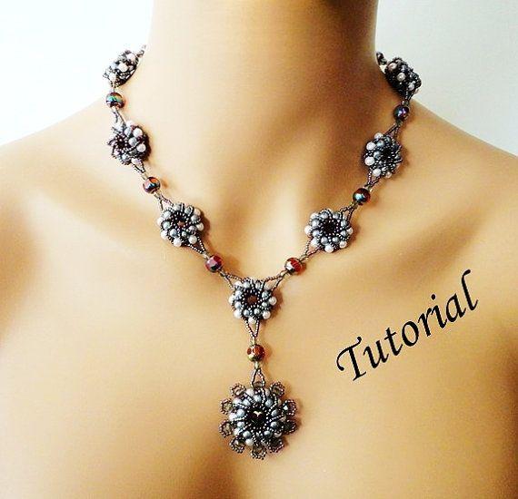 PDF for beadwoven necklace beading tutorial - beadweaving pattern beaded seed bead jewelry - PEARL ELEGANCE via Etsy