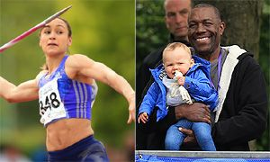 Jessica Ennis-Hill supported by two of her biggest fans, son Reggie and dad Vinnie, as she competes on the field