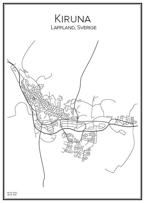 Kiruna. Lappland. Sverige. Karta. City print. Print. Affisch. Tavla. Tryck.