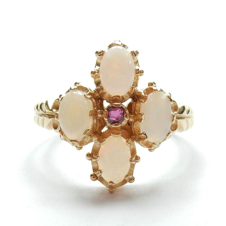 Modern Antique Style 9 Carat Yellow Gold Opal & Amethyst Ring 3.8g UK R #Solitaire