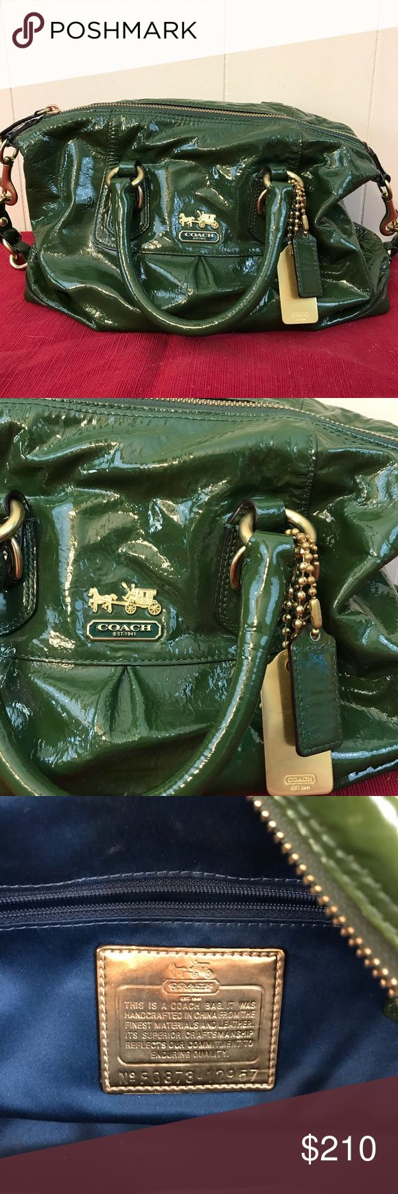 Authentic Coach Purse RARE Madison Sabrina Green Authentic barely used, immaculately clean and properly stored in a dust bag - this green Coach Patent Leather Purse is a Madison Sabrina Satchel  12 in across  7-8 in deep  Measurements are approximate  Like new. Can be a great Christmas or holiday gift! Coach Bags Satchels