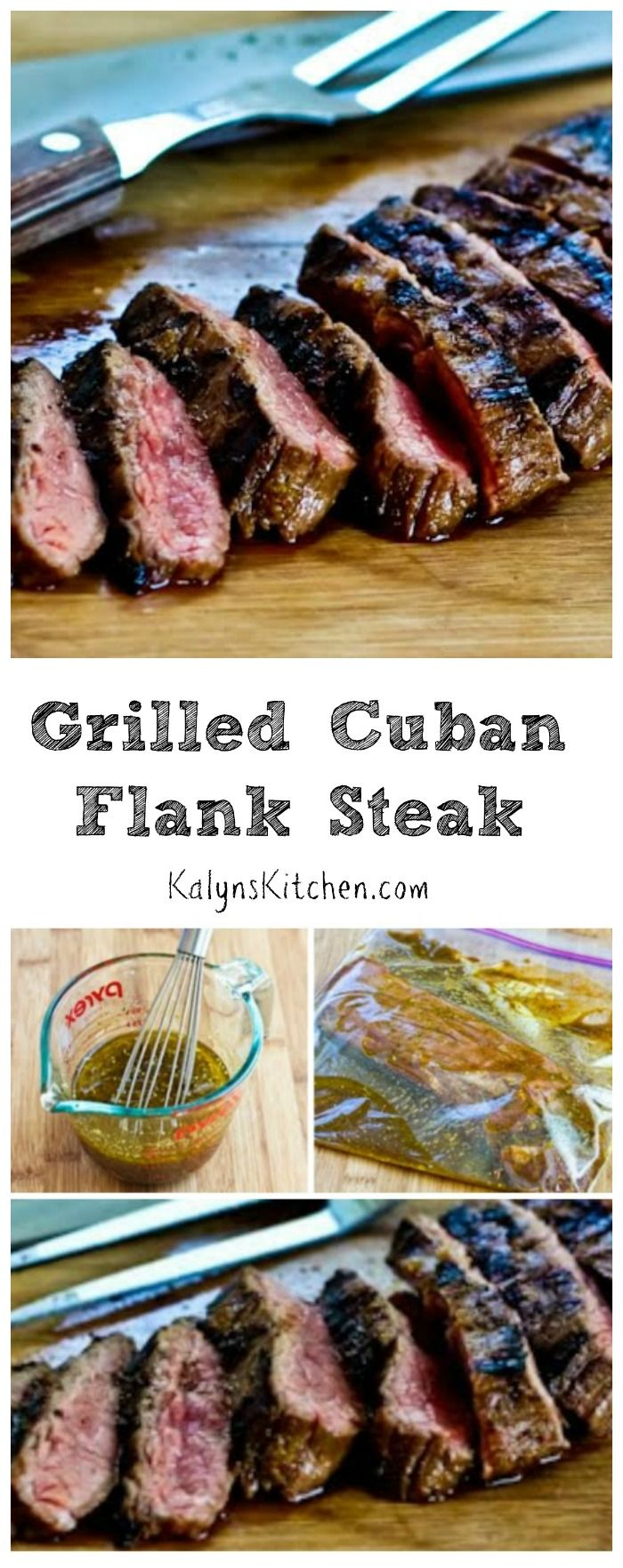This Grilled Cuban Flank Steak will be a hit with all the beef lovers; perfect for every summer holiday party when you want something special to serve on the grill. This recipe is #LowCarb, #GlutenFree, and #Paleo, and it's delicious. [from KalynsKitchen.com]