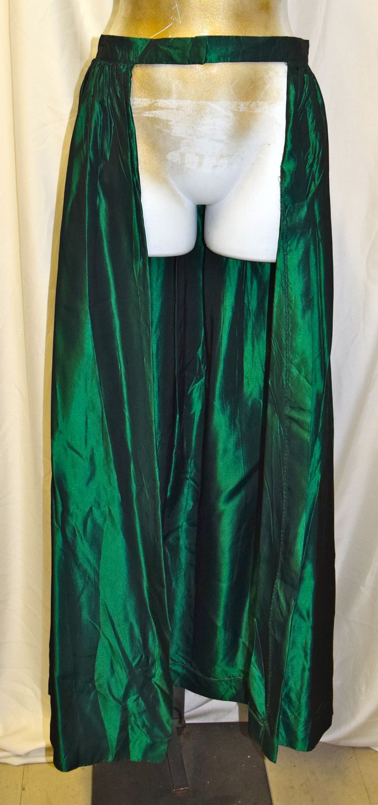 Vintage Emerald Green Long Formal Skirt with Open Front