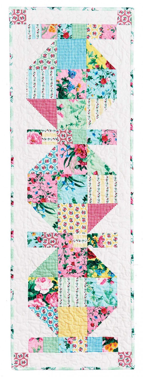"""Tabletop Charm Quilt Pattern  - DesignerTricia Lynn Maloney -  Finished Size 16"""" x 48""""  - Finished Blocks 3  
