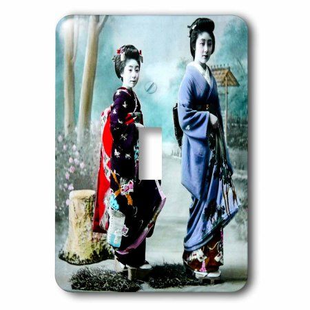3drose Vintage Japanese Geisha and Her Young Maiko Apprentice Hand Tinted – Single Toggle Switch