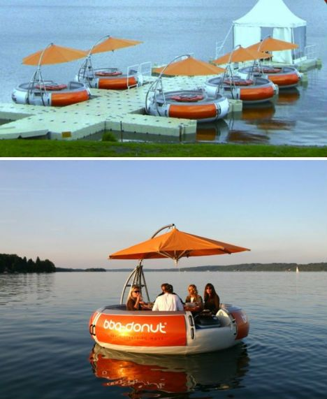 Germany's BBQ Donut restaurant is definitely one-of-a-kind. First of all, its floating tables, which have seating for ten, make smart use of water space and are quite a novelty draw. At the center of each of these tables is a BBQ that turns into a picnic table. Each floating pod has its own built-in sound system and even silent electric propulsion so it can cruise around.