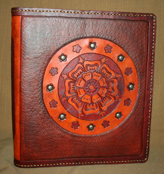 Hand Tooled Leather Binder in Maroon and Tan by BlackthornWorkshop, $110.00