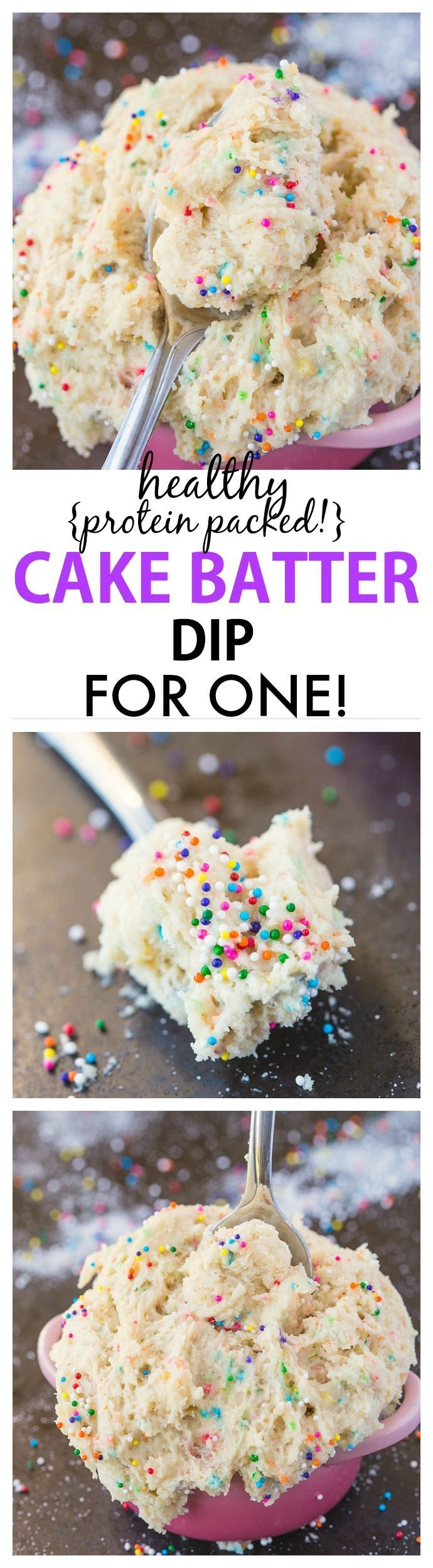 Healthy Cake Batter dip for ONE recipe- Delicious, creamy and packing over 20 grams of protein, it only takes 5 minutes to whip up! Sinfully nutritious! {vegan, gluten free, sugar free + paleo options} - http://thebigmansworld.com