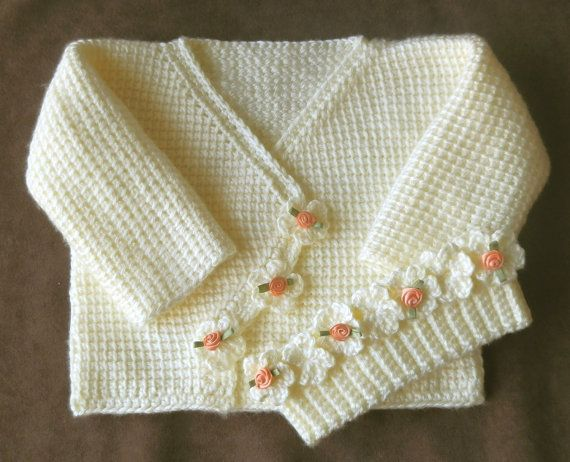 Baby Girl Sweater Set 12 months Crochet Tunisian Afghan Stitch PDF Pattern VERY VANILLA. $4.00, via Etsy.