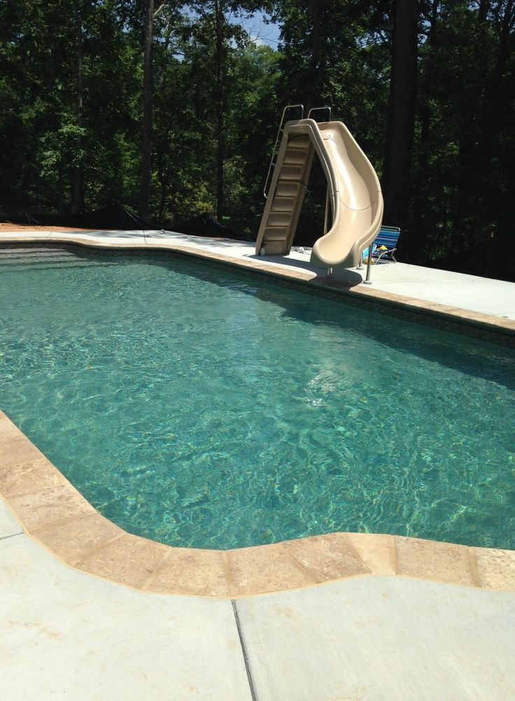 Sandstone Pool Vinyl Liner With Travertine Coping Pool