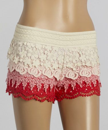 Love this Red & White Crocheted Tiered Shorts by  I Love S&S INC. on #zulily! #zulilyfinds