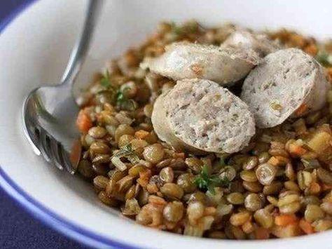 レンズ豆とソーセージの煮込みの画像