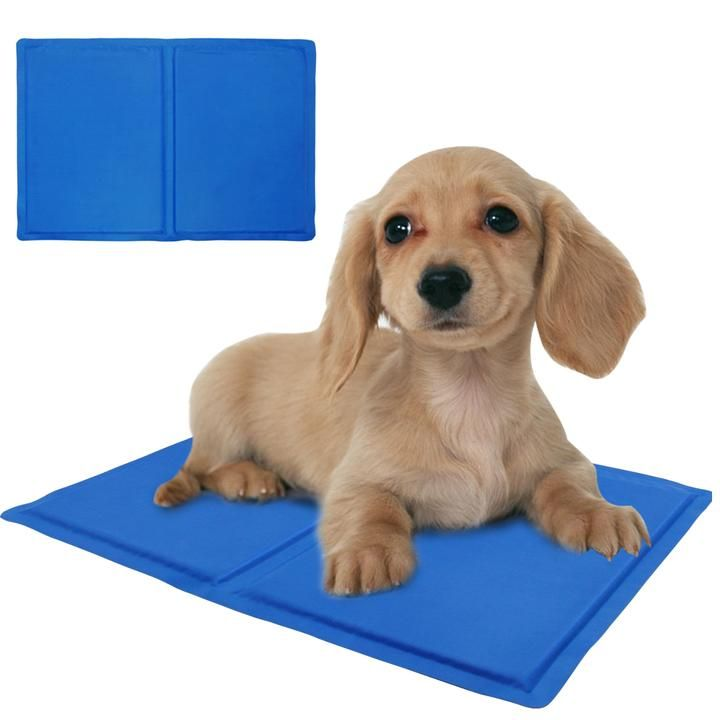 Summer Self Cooling Dog Kennel Mat Chilly Weight 650g Pattern Solid Material Nylon Color Blue Size 40 30cm Pet Cooling M Dog Kennel Mats Dog Kennel Dogs