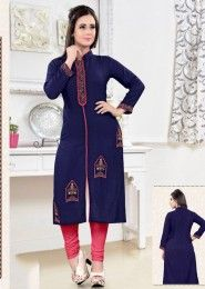 Party Wear Neavy Blue Rayon Embroidered Work Kurti