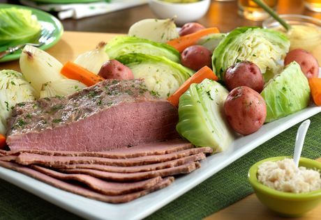 Apricot Glazed Corned Beef With Sauteed Cabbage And Colcannon Recipe ...