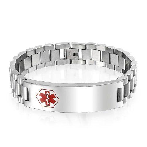Bling Jewelry Mens en acier inoxydable bracelet d'identification de balise ID médical 8.5in gravure gratuite