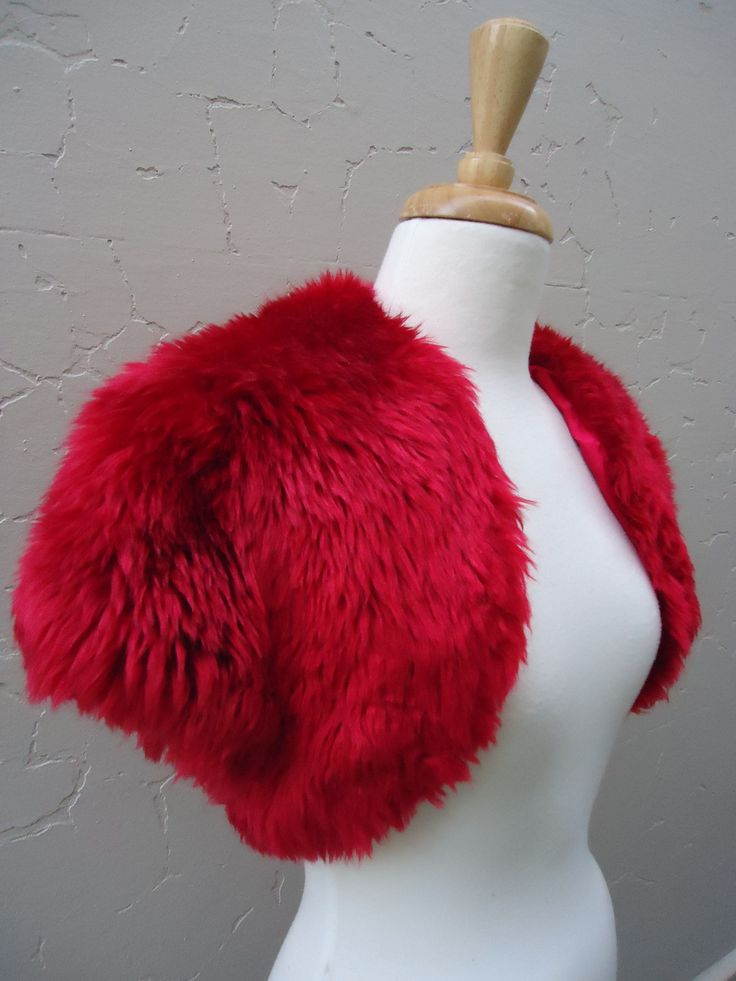 Fire-engine red faux fur bolero, red satin lining. Size S  $49   SOLD