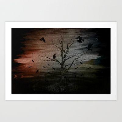 raven eyes Art Print by Oscar Tello Muñoz - $19.00