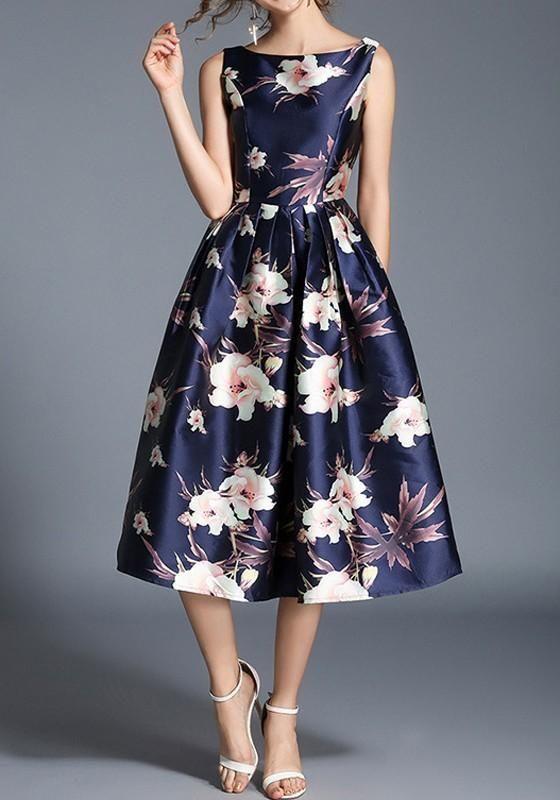 Blue Floral Pleated Backless Round Neck Sleeveless Vintage Midi Dress f1eb817b205b