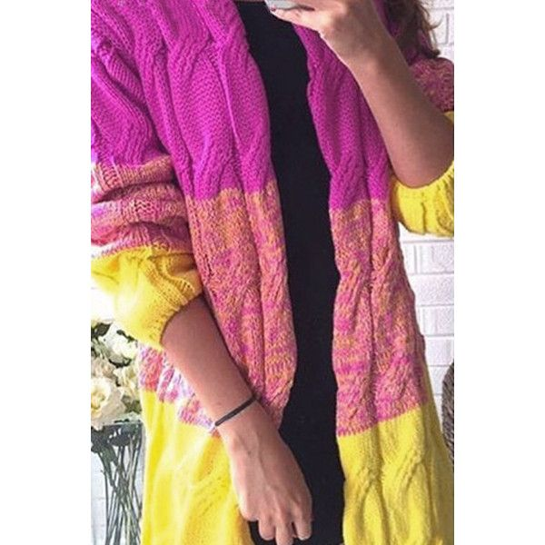 Yoins Fashion Yellow Gradient Oversize Cardigan (235 HRK) ❤ liked on Polyvore featuring tops, cardigans, black, camisole tops, yellow cardigan, yellow cami, yellow cami top and oversized open front cardigan