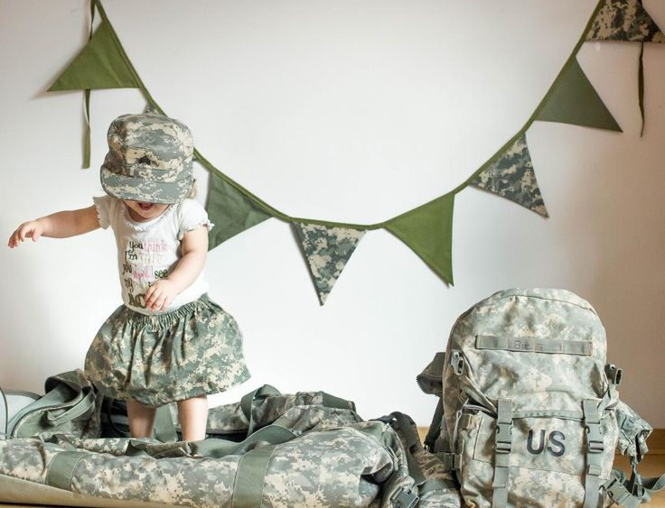 Camo Themed Fabric Flag Banner- Camo Bunting Banner- Camo Banner- Army- Military- Baby Shower Banner- Room Decor- Decoration. $20.00, via Etsy.