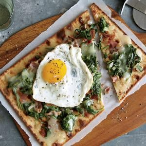 Omit prosciutto or use fake meat for vegetarian version of this Spinach, Egg, and Prosciutto Flatbread   MyRecipes.com