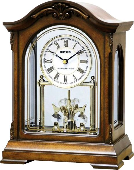 -Beautiful Rhythm Table Clock with Westminster-Chime  -wooden Case  -HOURLY WESTMINSTER  -Ave Maria  -Bim-Bam  -automatic Night-shut-off PM11:00-AM5:45  -24Hr ON  -Made in Japan  -2 Years Guarantee  -Batteries: 2 standard + 1 standard AA  -Volume control