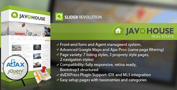 Javo House v1.9.2 - полностью отзывчивая тема WordPress. Там чистая и многофункциональная тема - сетчатая, готовая к загрузке, интегрированная система PayPal и включает в себя такие функции, как расширенная поддержка плагинов Google Maps Pro +, IDX, интерфейсные формы для агентов,