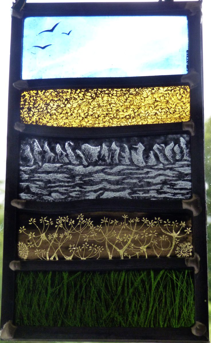 Hanging stained glass panel designed and created by Sarah Roberts Stained Glass Art