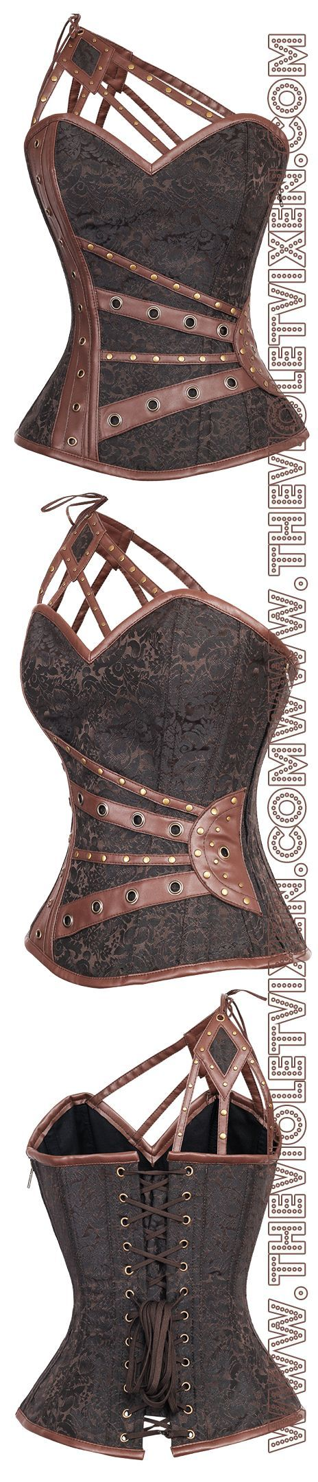 Beautiful chocolate brown brocade under those sexy leather straps, and does it get any hotter than the one shoulder look? I think not.