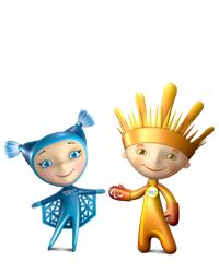 "Snowflake and Ray Of Light (""Snezhinka"" and ""Luchik"") Mascots for Sochi 2014 Winter Olympics"