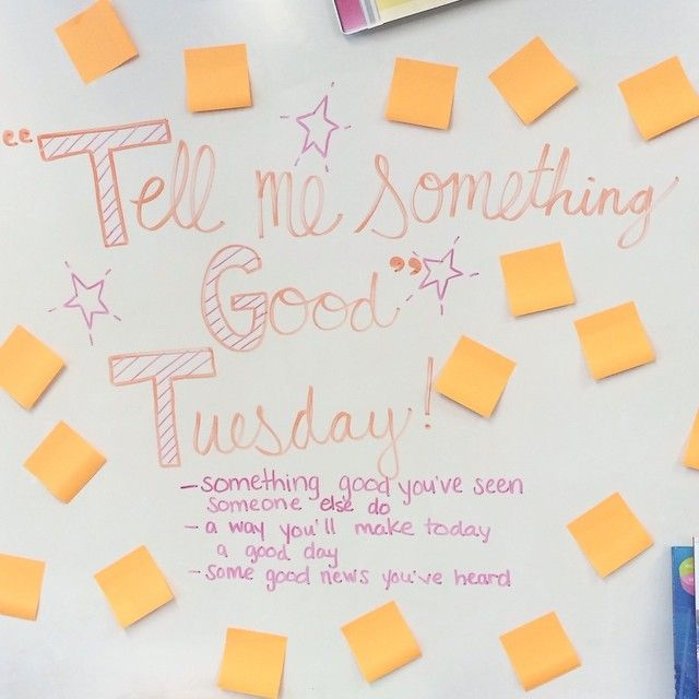 Combined #miss5thswhiteboard with an idea I heard this morning on @kearth101 on my way to work! The kids had such wonderful things to say, and it set such a great tone for our day! #tellmesomethinggood Thanks for all the whiteboard inspiration @miss5th! #teachersfollowteachers #teachersofinstagram