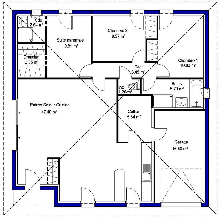 25 best ideas about plan maison plein pied on pinterest for Exemple plan maison