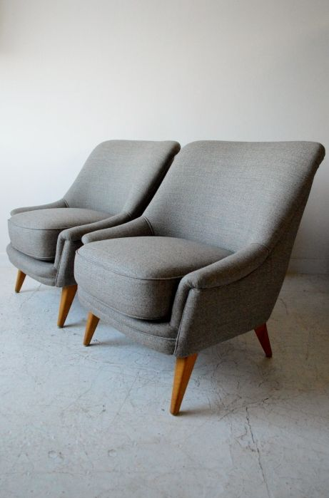 1950s Danish armchairs, reupholstered in Bute wool, from www.osimodern.com #midcentury #armchairs