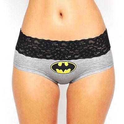 Mujeres Sexy de Encaje Batman Ropa Interior Bragas Calzoncillos Boxer Calzoncillos Bragas Lingerie