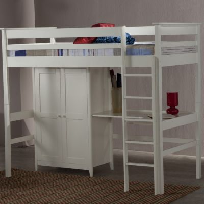 The Cotswold High Sleeper Wardrobe And Study Desk Area