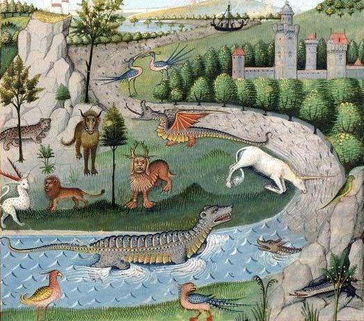 Licornes orientales.  Plusieurs récits de voyages des XIIIe et XIVe siècles semblent confirmer l'existence des licornes aux confins orientaux du monde : c'est aussi à cette époque que commencent à circuler de prétendues cornes de licorne, dont la poudre passait pour avoir des propriétés médicinales, notamment contre l'épilepsie, voire aphrodisiaques. En réalité, ce sont le plus souvent des dents de narval dont le commerce a sans doute contribué à renforcer la légende.