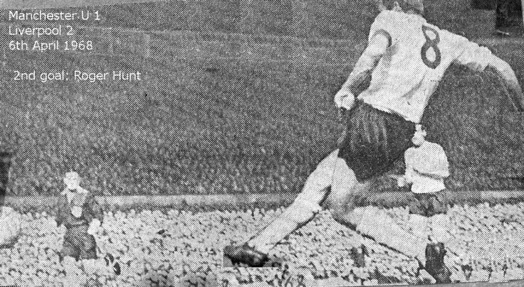 Man Utd 1 Liverpool 2 in April 1968 at Old Trafford. Roger Hunt scores the winner #Div1