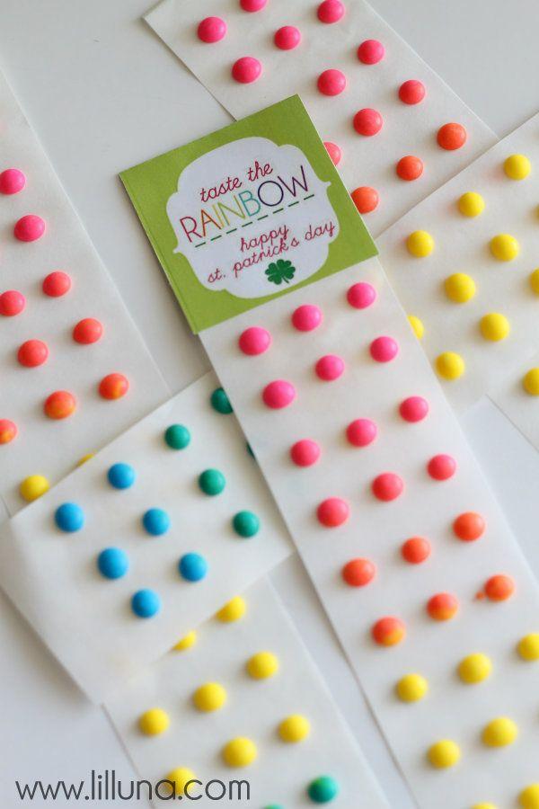 St. Patrick's Day Taste the Rainbow Candy Buttons { lilluna.com }
